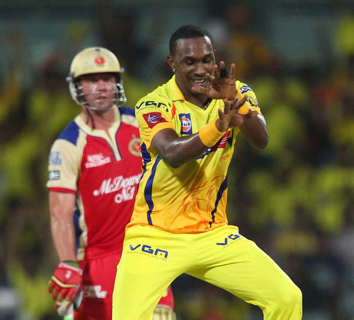 Photo: Trinidad and Tobago cricket star Dwayne Bravo (right) on duty with the Chennai Super Kings at the Champions League T20.