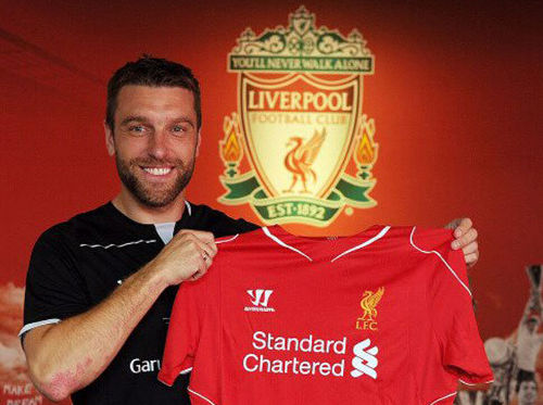 Photo: New signing Rickie Lambert enjoys his best moment in a Liverpool shirt so far.