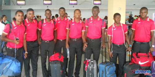 Photo: Members from the Trinidad and Tobago national under-17 team pose for a photograph at the Piarco International Airport. (Courtesy Wired868)