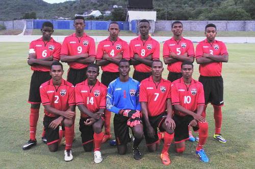 Photo: The Trinidad and Tobago national under-17 team poses before kick off against Grenada. (Courtesy Devin Elcock/TTFA)