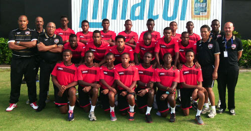 Photo: The Trinidad and Tobago national under-17 team pose at the Beausejour Stadium in St Lucia during the Caribbean qualifying round. Coach Shawn Cooper has made a handful of changes to his roster since then.