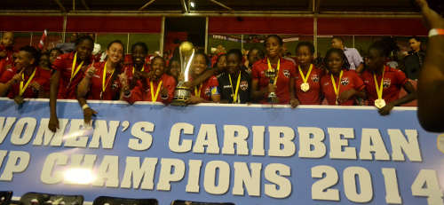 Photo: Defender Arin King (third from left) was instrumental in Trinidad and Tobago Caribbean Cup title win last night. (Courtesy Jinelle James/WOLF)