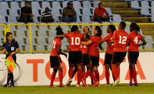 Photo: Trinidad and Tobago celebrates Mariah Shade's opening Caribbean Cup final goal against Jamaica. (Courtesy Jinelle James/WOLF)