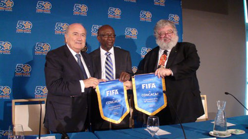 Photo: FIFA president Sepp Blatter (left), former vice-president Jack Warner (centre) and ExCo member Chuck Blazer. (Courtesy Play The Game)