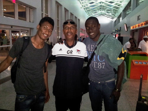 Photo: Central FC youth and women's football director George Romano (centre) collected former club players Willis Plaza (left) and Rundell Winchester at the Piarco International Airport this evening. (Courtesy Central FC)