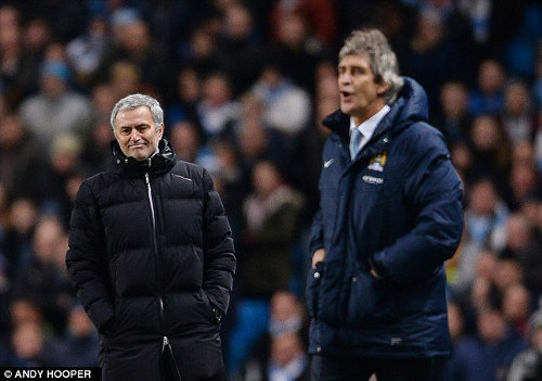 Photo: Chelsea boss Jose Mourinho (left) seems to enjoy his meetings with Manchester City manager Manuel Pellegrini. The feeling is not mutual. (Copyright Andy Hooper)