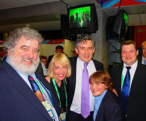Photo: Former CONCACAF general secretary Chuck Blazer (left) and former UK Prime Minister Gordon Brown. (centre) Courtesy transparencyinsport.org