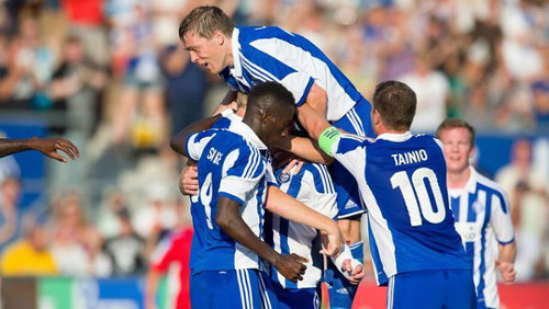 Photo: HJK FC players celebrate their Europa League progress last month.