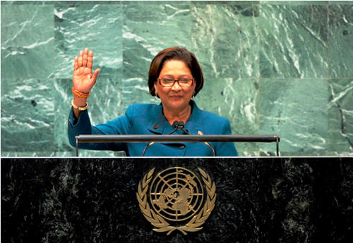 Photo: Former Prime Minister and current Opposition Leader Kamla Persad-Bissessar. (Courtesy Caricom.com)