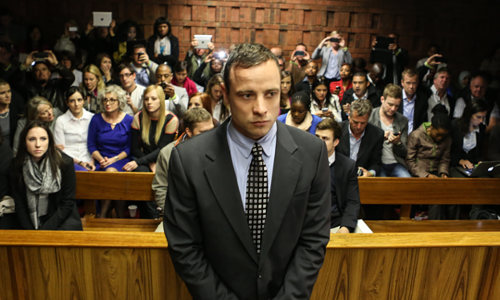 "Photo: South Africa Olympic star Oscar ""Blade Runner"" Pistorius on trial. (Courtesy Vocfm.co.za)"