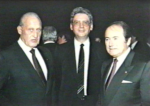 Photo: Former FIFA president Joao Havelange (left) former ISL chairman Jean Marie Weber (centre) and FIFA president SEpp Blatter. Courtesy:transparencyinsport.org