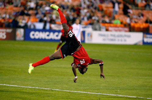 "Photo: Flipping brilliant! Trinidad and Tobago attacker Kennya ""Yaya"" Cordner scored three times in the 2014 CONCACAF Championships. (Courtesy CONCACAF)"