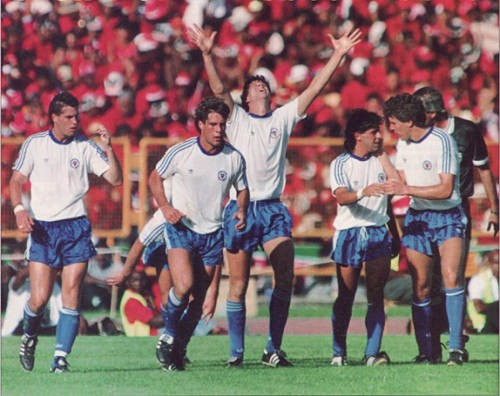 Photo: United States players celebrate at the Port of Spain National Stadium on November 19, 1989.