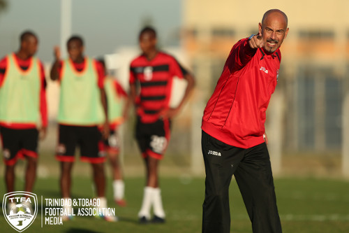 Photo: Trinidad and Tobago head coach Stephen Hart makes a point during a training session in Sao Paulo last year. (Courtesy Allan V Crane/TTFA Media)