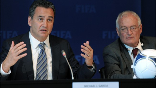 Photo: FIFA investigator Michael Garcia (left) and judge and ethics committee colleague Hans Joachim-Eckert. (Courtesy FIFA)