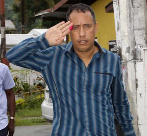 Photo: Gary Griffith takes advice on honesty from Jack Warner. And this was the PP's most principled minister.