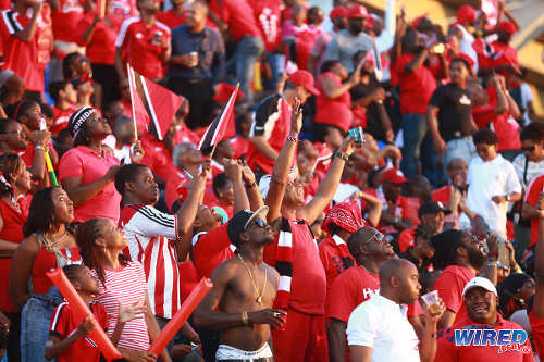 "Photo: Just over 20,000 Trinidad and Tobago supporters came out to watch the ""Women Soca Warriors"" face Ecuador in Port of Spain. But many did not stay until the final whistle. (Courtesy Allan V Crane/Wired868)"