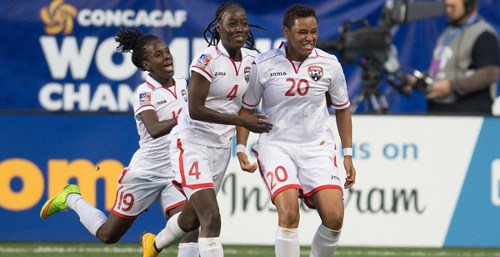 Photo: Trinidad and Tobago players Lauryn Hutchinson (right), Rhea Belgrave (centre) and Kennya Cordner celebrate against Costa Rica during the CONCACAF Championships. (Courtesy CONCACAF)