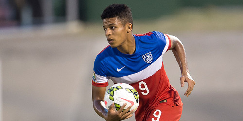 Photo: United States striker Romain Gall scored five times during the CONCACAF Under-20 Championship. Gall gave up a scholarship at the University of Maryland to play with the FC Lorient reserves in France before joining MLS team Columbus Crew. (Courtesy CONCACAF)