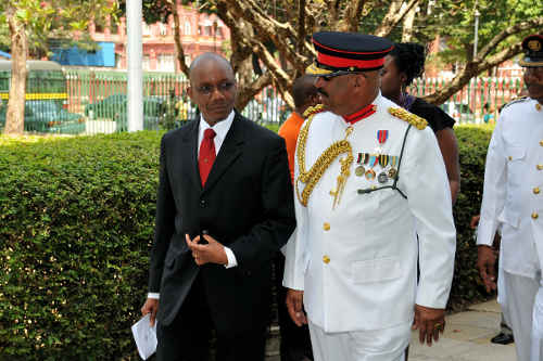 Photo: Late National Security Minister Martin Joseph (left) and Coast Guard Commandant Edison Isaac. (Courtesy Gov.tt)