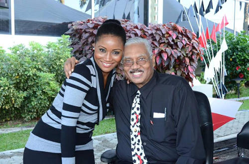Photo: Late Trinidad and Tobago National Senior Football Team manager Richard Braithwaite (right) with former co-employee Reay Greaves at a National Energy Corporation event.