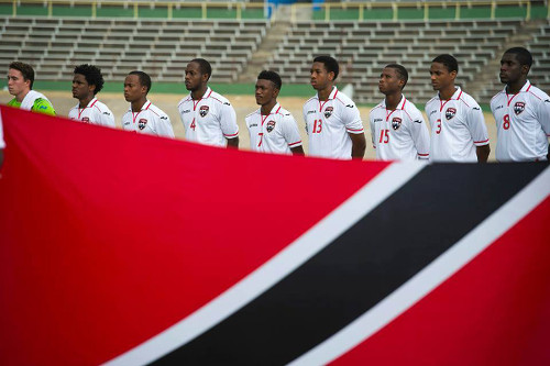 Photo: The Trinidad and Tobago National Under-20 Team poses before kick off against Panama in the 2015 Under-20 CONCACAF Championship. (Courtesy CONCACAF)