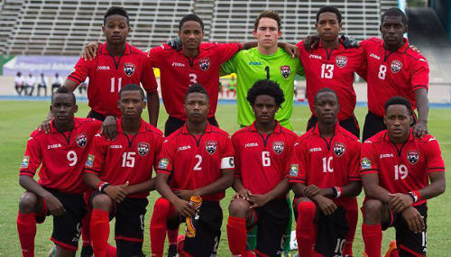 Photo: The Trinidad and Tobago national under-20 team poses before kick off against Aruba in the 2015 CONCACAF Under-20 Championship. (Courtesy CONCACAF)