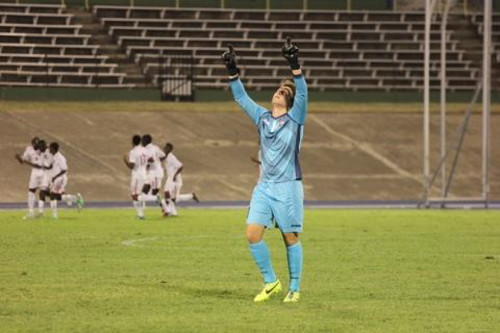 "Photo: Trinidad and Tobago goalkeeper Johan Welch celebrates as the ""Soca Warriors"" took an early two goal lead against Jamaica in CONCACAF action at Kingston. (Courtesy CONCACAF)"