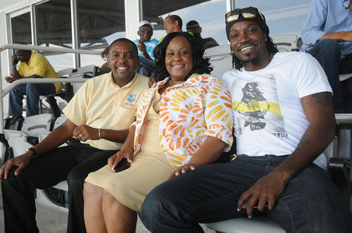 Photo: West Indies Cricket Board (WICB) president Dave Cameron (left) and cricketer Chris Gayle (right) during happier times. (Courtesy WICB)
