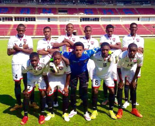 Photo: The Trinidad and Tobago National Under-17 Team poses before kick off in a pre-tournament friendly against Panama. (Courtesy TTFA Media)