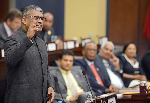 Photo: Former Attorney General Anand Ramlogan speaks in Parliament during the spell of the People's Partnership Government. (Courtesy Baltimore Post Examiner)