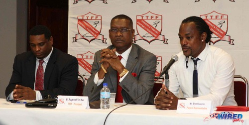 Photo: TTFA president Raymond Tim Kee (centre), ex-2006 World Cup player Brent Sancho (right) and TTFA general secretary Sheldon Phillips address the media during a rare happy moment between the trio in 2013. Sancho was announced as the Sport Minister in February 2015. (Courtesy Wired868)