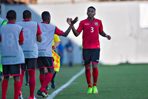 Photo: Trinidad and Tobago National Under-17 left back Keston Julien celebrates his goal against Guatemala. (Courtesy MexSport/CONCACAF)