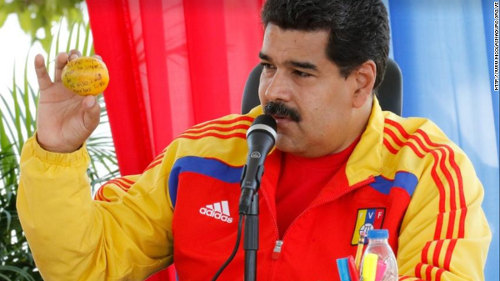 Photo: Venezuela President Nicolás Maduro displays the weapon of mango distraction. (Courtesy CNN)