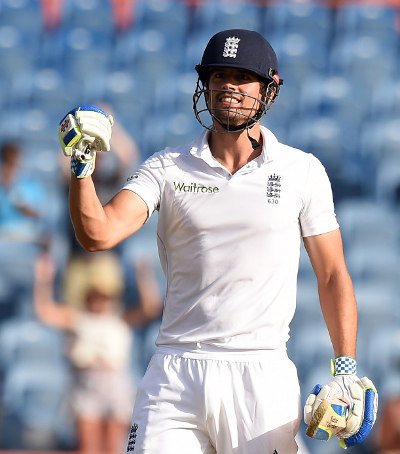 Photo: England cricket captain Alastair Cook enjoys a personal milestone in the Caribbean. (Copyright AFP 2015)