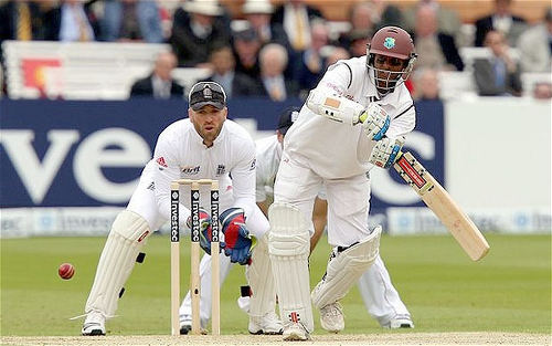 Photo: West Indies middle order batting star Shivnarine Chanderpaul in action against England. (Courtesy UK Telegraph)