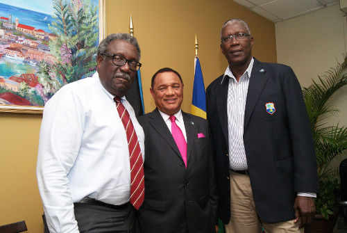 Photo: West Indies cricket icons Clive Lloyd (left) and Joel Garner (right) pose with Bahamas Prime Minister Perry Christie. (Copyright Windies Cricket)