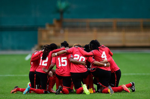 "Photo: The ""Women Soca Warriors"" get ready for action during their 2015 FIFA Women's World Cup qualifying adventure. (Copyright AFP 2015)"