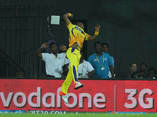 Photo: Trinidad and Tobago Chennai Super Kings cricketer Dwayne Bravo earned an ESYPs nomination for this stunning one handed catch against the Rajasthan Royals in the IPL.