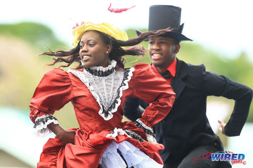 Photo: Tobago Heritage Dance Performers strut their stuff at the Dwight Yorke Stadium in Bacolet during the 2015 Legends Football tournament. (Courtesy Allan V Crane/Wired868)