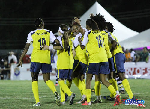 Photo: Fuego players celebrate Anastasia Prescott's decisive WPL goal against Angels in Diego Martin. (Courtesy Sinead Peters/Wired868)