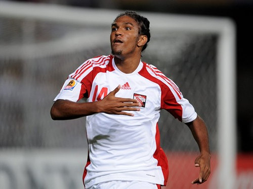 Photo: Trinidad and Tobago midfielder Jean-Luc Rochford celebrates after scoring against Egypt at the 2009 Under-20 World Cup.