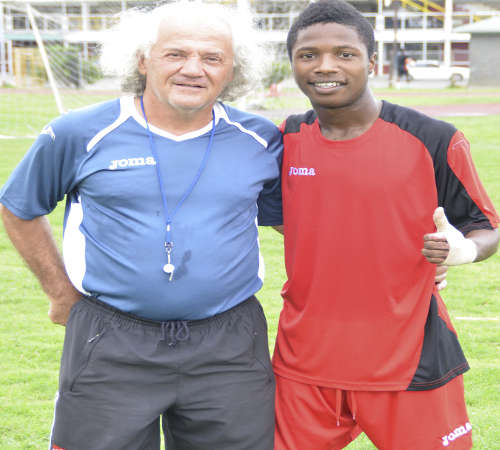 Photo: Trinidad and Tobago National Under-23 coach Zoran Vranes (left) and right back Shannon Gomez. (Courtesy: Allan Powder/Wired868).