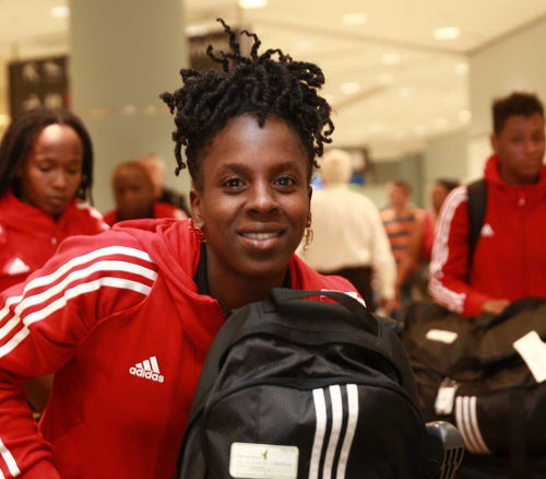 Photo: Trinidad and Tobago Women's National Senior Team star Kennya Cordner touches down in Toronto for the July 2015 Pan American Games. (Courtesy Allan V Crane/TTOC)