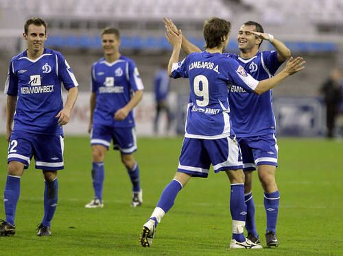 Photo: Dinamo Moscow players celebrate during a league match.