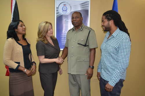 Photo: MATT president Francesca Hawkins (second from left) greets acting Police Commissioner Stephen Williams (centre) while MATT officials Sheila Rampersad (far left) and Jabari Fraser look on.