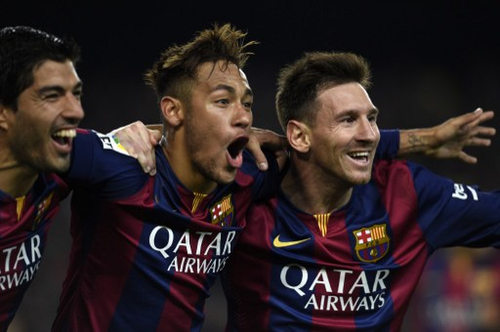 Photo: Barcelona stars Lionel Messi (right), Neymar (centre) and Luis Suarez celebrate at the Camp Nou. (Copyright Lluis Gene/AFP 2015)