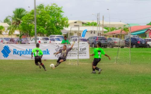 Photo: Action in the Republic Bank National  Youth Cup. (Courtesy Republic Bank)