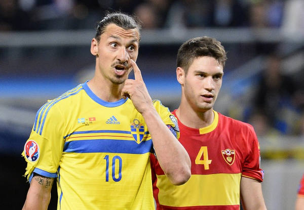 Photo: Sweden football star Zlatan Ibrahimovic (left) gestures to the referee during a 2014 World Cup qualifier against Montenegro. (Copyright Jonathan  Nackstrand/AFP 2015)