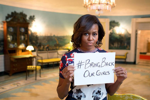 Photo: US first lady Michelle Obama protests against Boko Haram's kidnapping of young female students in Nigeria.